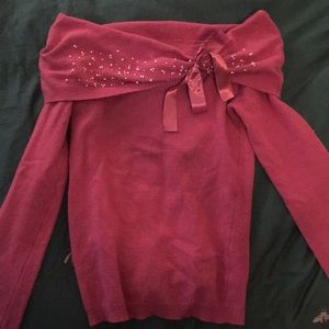Pink pearled sweater